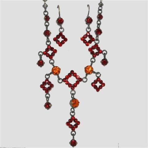 Red Square Shaped Necklace & Matching Earrings Set - Sparkly Crystal Costume Jewellery