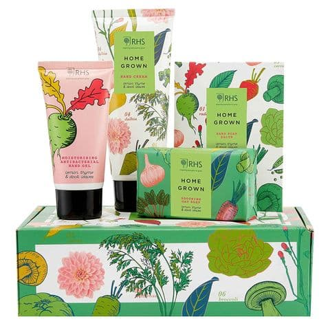 RHS Home Grown Hand Care Gift For Hands Cream Soap Gel Set Heathcote & Ivory