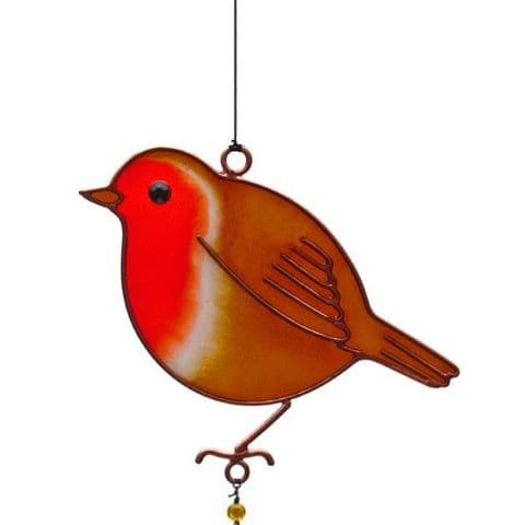Robin Windchime - 42cm Hanging  Garden Sun Catcher Wind Chimes