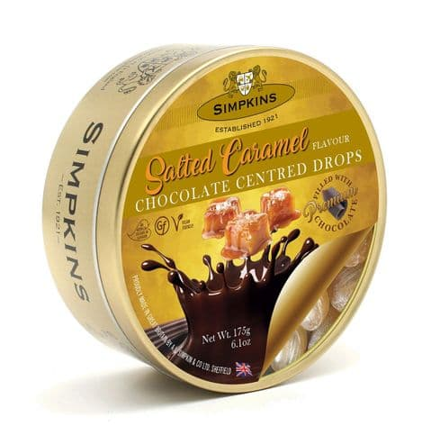 Salted Caramel Chocolate Centres - Simpkins Traditional Travel Sweets Tin 175g