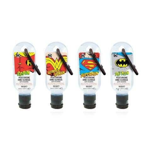 Set of 4 DC Comics Clip & Clean Moisturising Travel Hand Cleanser Gels 30ml Mad Beauty