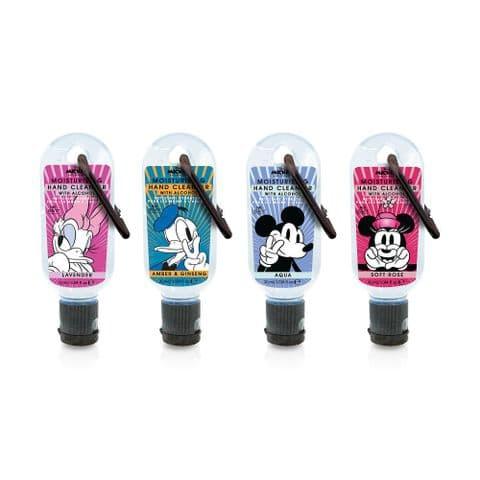 Set of 4 Disney Mickey & Friends Clip & Clean Moisturising Travel Hand Cleanser Gels 30ml Mad Beauty