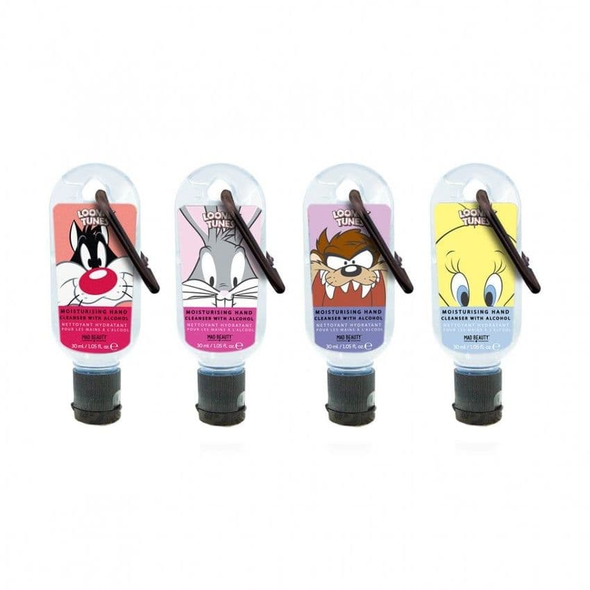 Set of 4 Looney Tunes Clip & Clean Moisturising Travel Hand Cleanser Gels 30ml Mad Beauty