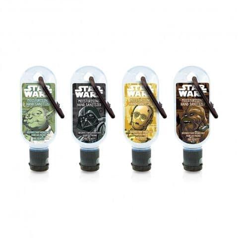 Set of 4 Star Wars Clip & Clean Moisturising Travel Hand Sanitizer Gels 30ml Mad Beauty