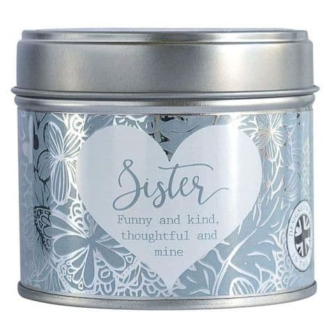 Sister Linen Scented Candle Tin Said With Sentiment Arora Design