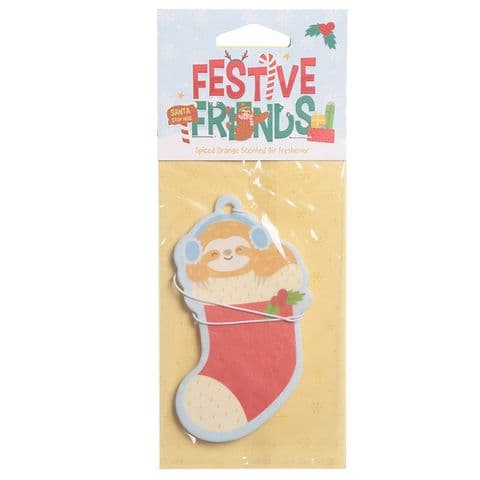 Sloth Festive Friends Christmas Spiced Orange Scented Car Air Freshener Puckator