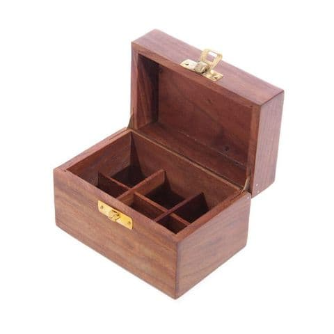 Small Sheesham Wood Essential & Fragrance Oils Wooden Storage Box (Holds 6 Oil Bottles)