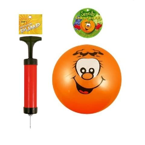 Smelly Fruits Smiley Face Foot Ball 25cm and Sports Pump Set (Random Colours)
