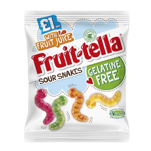 Sour Snakes Fruit-Tella Gelatine Free Sweets 100g