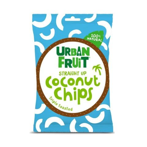 Straight Up Coconut Chips - Crispy Triple Toasted Snack By Urban Fruit 25g