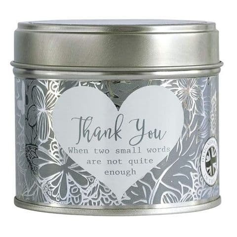 Thank You Linen Scented Candle Tin Said With Sentiment Arora Design