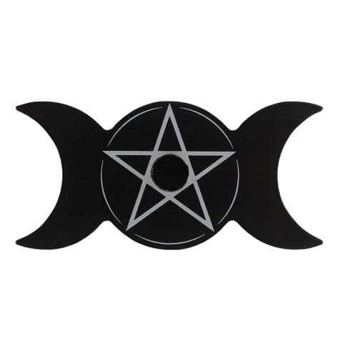 Triple Moon Black Spell Candle Holder Spirit of Equinox