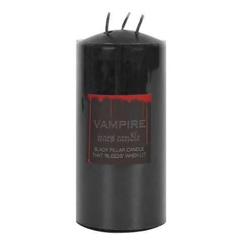 "Vampire Tears Black & Red Blood 6"" Triple Wick Pillar Candle"