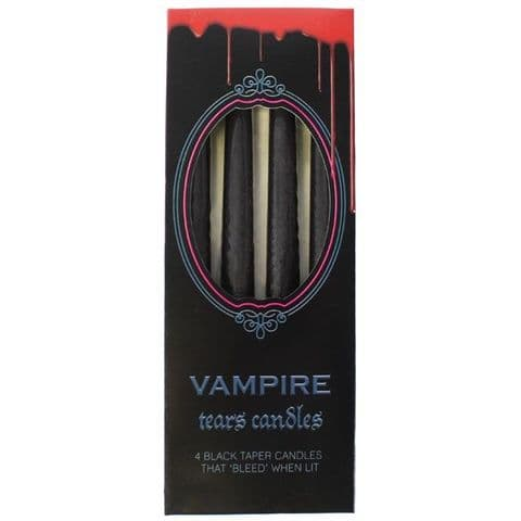 Vampire Tears Black & Red Blood Taper Candles - 4 Pack