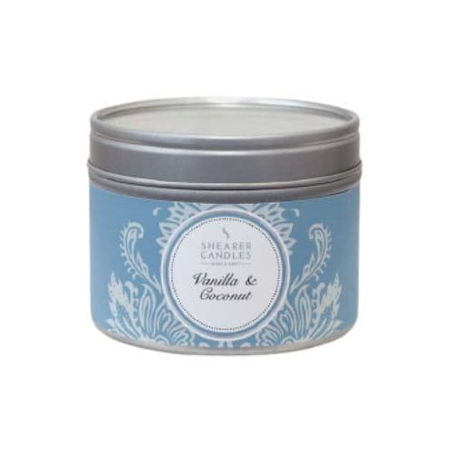 Vanilla & Coconut Scented Tin - Shearer  Candles