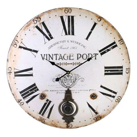 Vintage Port 42913 - Extra Large Rustic Retro Kitchen Wall Pendulum Clock 58cm
