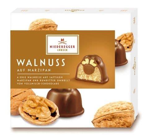 Walnut Rum Pralines Walnuss Luxury Milk Chocolate Marzipan NIEDEREGGER LUBECK Gift Box 102g