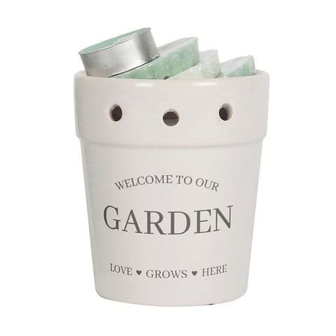 Welcome To Our Garden White Plant Pot Wax Melts Burner Gift Set Sifcon