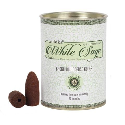 White Sage Backflow Incense Cones Goloka (Pack of 24)