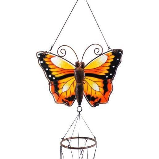 Yellow Butterfly Windchime - 81cm Hanging  Garden Sun Catcher Wind Chimes