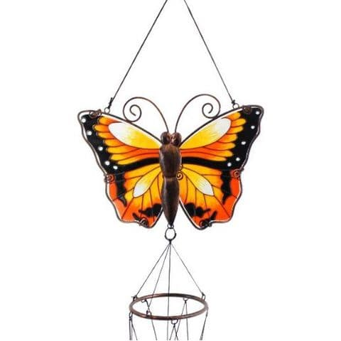 Yellow Butterfly Windchime - 81cm Hanging  Garden Sun Catcher Wind Chimes