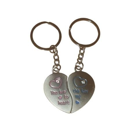 You Are The Key To My Heart - Love Split Heart 2 Piece Stainless Steel Keyring
