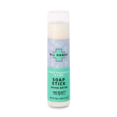 Zingy Pineapple & Lime Scented All Hands Pocket Soap Stick 18g Mad Beauty
