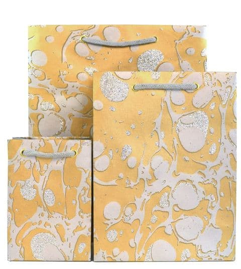 Glitter Marble Gold and Silver Gift Bags GBG215.100/01G