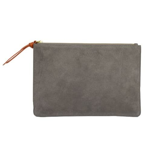 Leather Clutch Bag Taupe Suede - SLCP.82/57