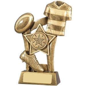 "Antique Gold Rugby Scene Award 140mm (5.5"")"