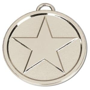 "Bright Star Chunky 50mm (2"") Medal Silver"