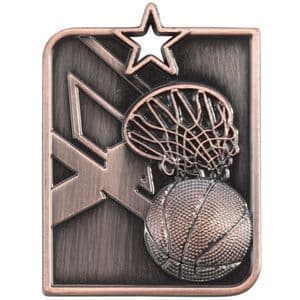 "Centurion Star Series Basketball Medal Bronze 53mm (2"") x 40mm (1.6"")"