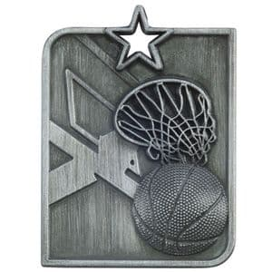 "Centurion Star Series Basketball Medal Silver 53mm (2"") x 40mm (1.6"")"