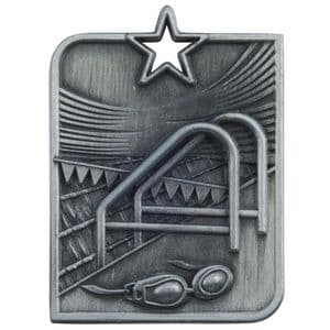 "Centurion Star Series Swimming Medal Silver 53mm (2"") x 40mm (1.6"")"