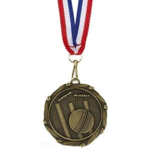 "Cricket Combo Medal 45mm (1.8"") with ribbon"