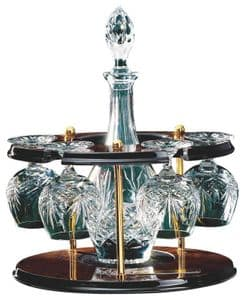 Crystal Bulb Decanter with 4 Brandy Balloons in Wooden Carousel
