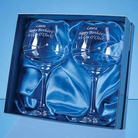 Diamante Gin Glasses with Spiral Design Cutting in a Satin Lined Gift Box 2