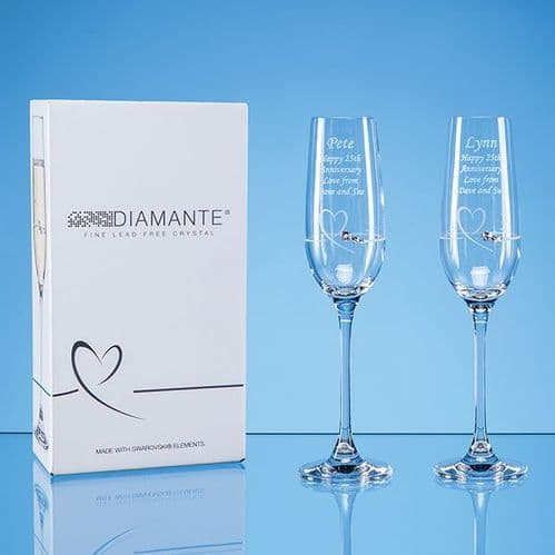 Diamante Petit Champagne Flutes with Heart Design in an attractive Gift Box 2