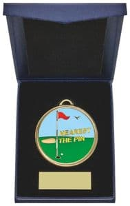 Golf Medal in Navy Blue Case Nearest the Pin 60mm