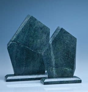 """Green Marble Facetted Ice Peak Award 250mm (9.8"""")"""
