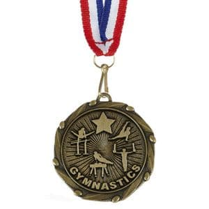 """Gymnastics Male Combo Medal 45mm (1.8"""") with Ribbon"""