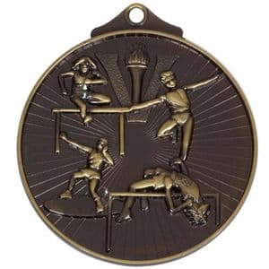 """Horizon Athletics Track and Field Medal 52mm (2"""") Bronze"""