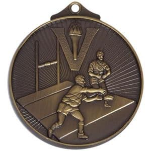 """Horizon Rugby Medal 52mm (2"""") Bronze"""