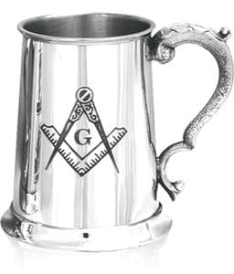 Masonic Tankard With G Pewter 1pt