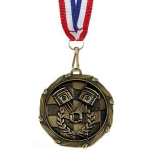 "Motorsports Combo Medal 45mm (1.8"") with Ribbon"
