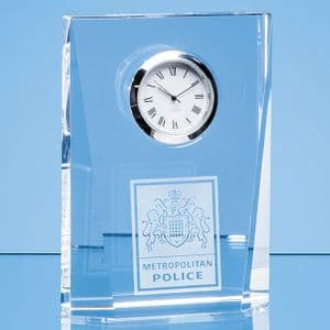 "Optical Crystal Bevelled Rectangle Clock 115mm (4.5"")"