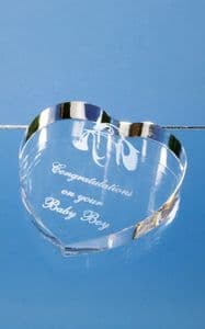 """Optical Crystal Clear Heart Paperweight 80mm (3.1"""")"""