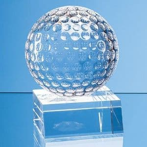 """Optical Crystal Golf Ball Mounted on a Clear Crystal Base 45mm (1.8"""")"""