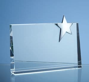 "Optical Crystal Horizontal Rectangle With Silver Star 200mm (7.9"")"