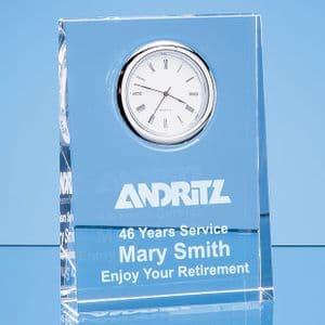 "Optical Crystal Tapered Rectangle Clock 120mm (4.7"")"